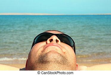 playa, hombre