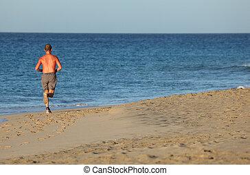 playa., isla, fuerteventura, jogging, canario, españa