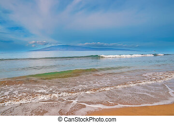 playa, isla, hawai, arena, océano, maui