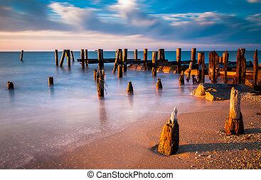 playa, jersey., poder, delaware, largo, pilings, ocaso,...