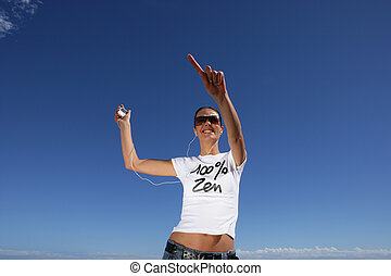 playa, jogging, mujer