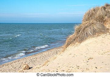 playa, lago michigan, erosión