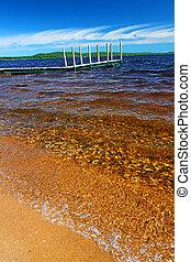 playa, lago, paisaje, gogebic