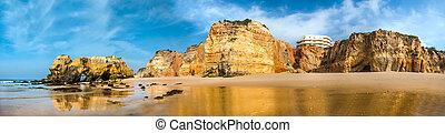 playa, landscape-praia, rocha, da