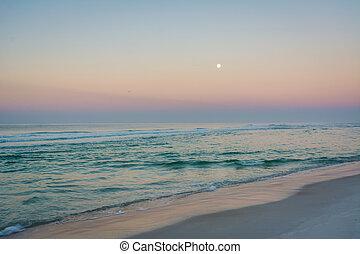 playa, méxico, golfo, ciudad, encima, florida., luna, salida...