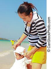 playa, mamá, niño