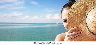playa., morena, joven, relajante