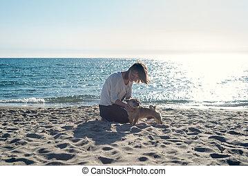 playa., mujer, perro, ella, juego