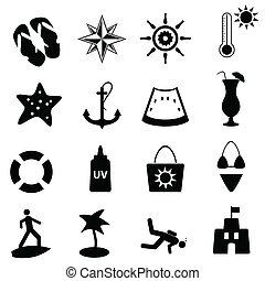 playa, náutico, verano, iconos