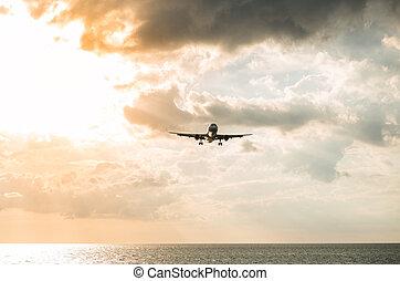 playa, nai, avión, yang, provincia de phuket, thailand., ...