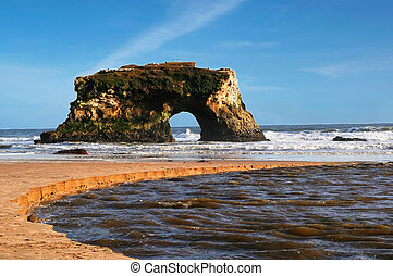 playa, naturaleza, puente