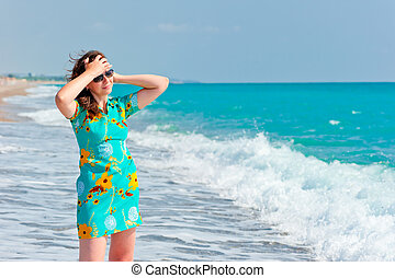 playa, niña, gafas de sol