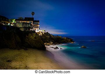 playa, noche, ensenada, bosque, vista, laguna, california.