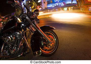 playa noche, escena, sur, motocicleta