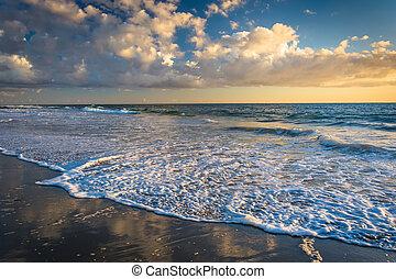 playa, océano pacífico, laguna, ocaso, california.