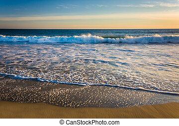 playa, océano pacífico, ondas, vistos, laguna, california.