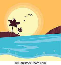 playa, ocaso, retro, verano, travel:, -, y, silueta