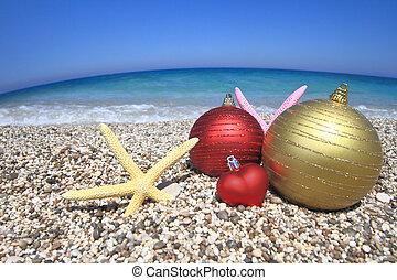 playa, ornamentos de navidad