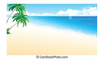 playa, palma, idílico, árbol