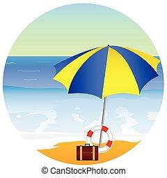 playa, paraíso, con, paraguas, vector, ilustración
