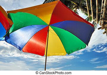 playa, parasol