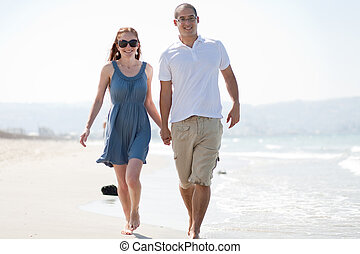 playa, pareja, amor, caminata