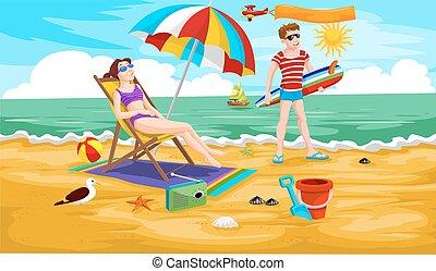 playa, pareja, ilustración