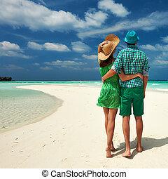 playa, pareja, maldivas, verde