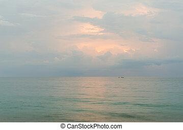 playa, phuket, ocaso, nai, yang, thailand., paisaje