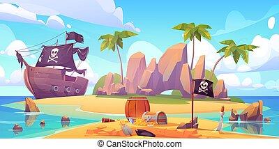 playa, pirata, isla, pecho de tesoros, enterrar
