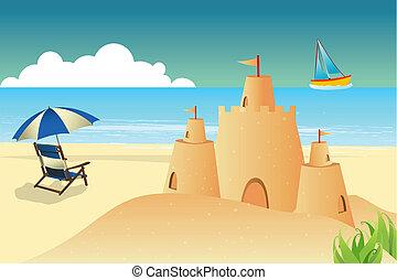 playa, plano de fondo, fortaleza, silla, paraguas, mar