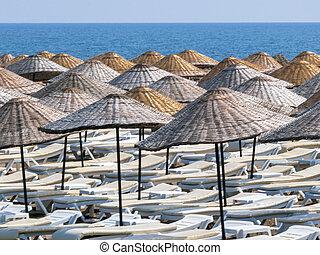 playa, plano de fondo, vista marina, loungers, mar, sol,...