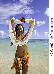 playa, polynesian, belleza