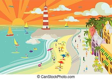 playa, pueblo, ilustración