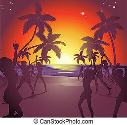 playa puesta sol, ilustración, fiesta