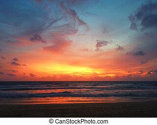playa puesta sol, plano de fondo