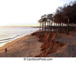 playa, quarteira, vacío