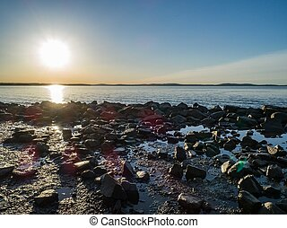 playa, rocoso, salida del sol