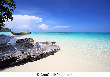 playa, rok, koh, tropical, mar de andaman, tailandia