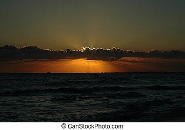 playa, salida del sol, 1