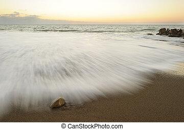playa, salida del sol