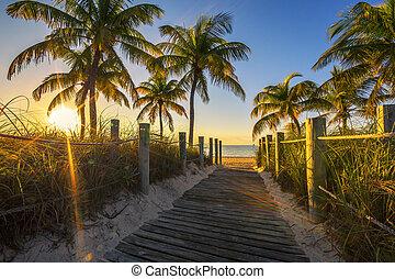 playa, salida del sol, pasaje