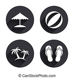 playa, sandals., paraguas, icons., vacaciones