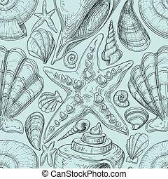 playa, seamless, patrón, con, conchas, y, estrellas de mar,...