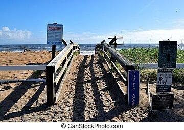 playa, sendero