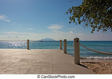 playa, seychelles, isla, restaurante, pretendiente, mahe,...