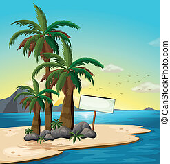 playa, signboard, vacío