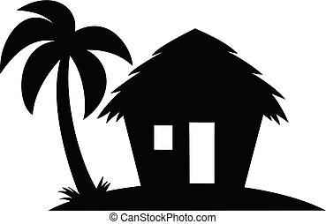 playa, silueta, cabaña