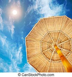 playa, sombrilla, debajo, desierto, sol