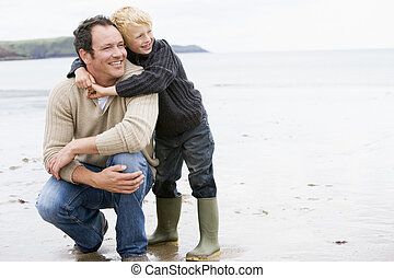 playa, sonriente, padre, hijo